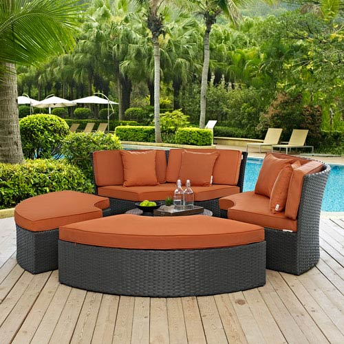 Modway Furniture Sojourn Outdoor Patio Sunbrella® Daybed in Canvas Tuscan