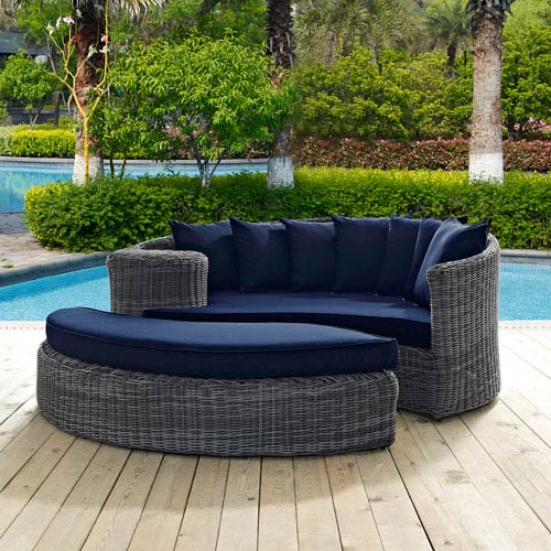 Summon Outdoor Patio Sunbrella® Daybed in Canvas Navy