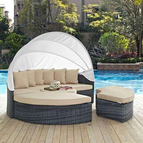 Summon Canopy Outdoor Patio Sunbrella® Daybed in Antique Canvas Beige