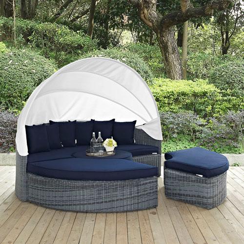 Summon Canopy Outdoor Patio Sunbrella® Daybed in Canvas Navy