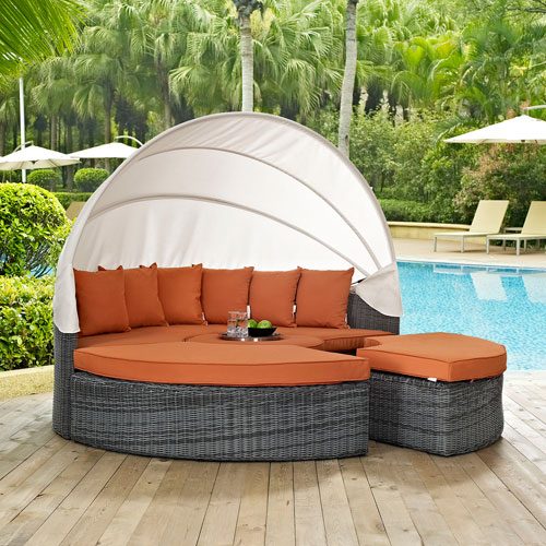 Summon Canopy Outdoor Patio Sunbrella® Daybed in Canvas Tuscan