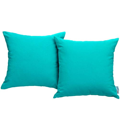 Modway Furniture Convene Two Piece Outdoor Patio Pillow Set in Turquoise