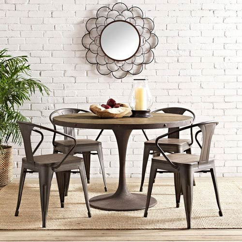 Peachy Modway Furniture Drive 48 Inch Round Wood Top Dining Table In Brown Download Free Architecture Designs Aeocymadebymaigaardcom