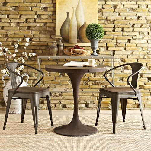 Drive 28-inch Wood Top Dining Table in Brown