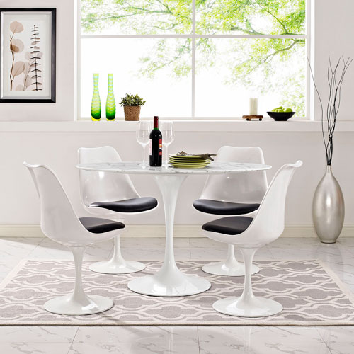 Modway Furniture Lippa 48 Inch Oval Shaped Artificial Marble Dining