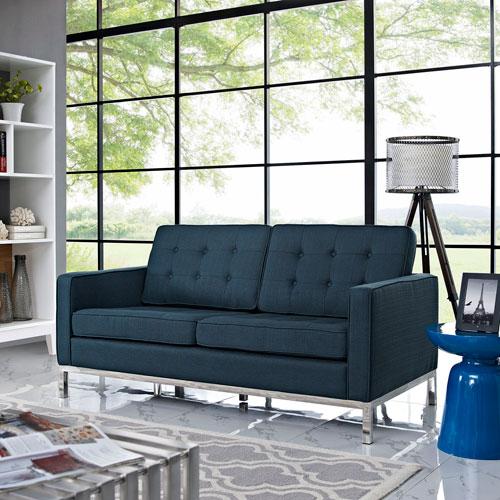 Modway Furniture Loft Fabric Loveseat in Azure