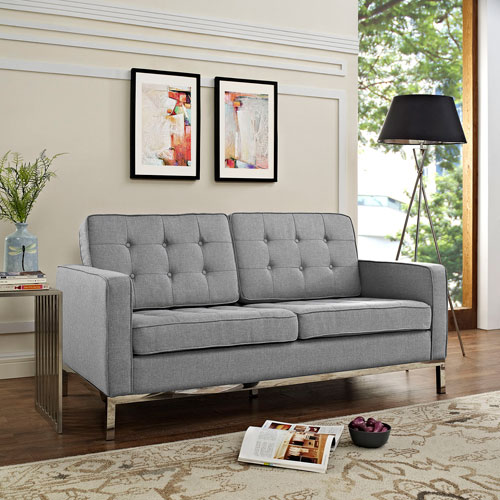 Modway Furniture Loft Fabric Loveseat in Light gray