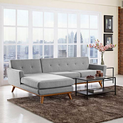 Modway Furniture Engage Left Facing Sectional Sofa In Expectation Gray