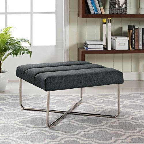 Modway Furniture Reach Ottoman in Gray