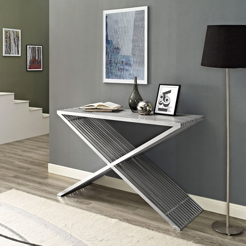 Modway Furniture Press Console Table in Silver