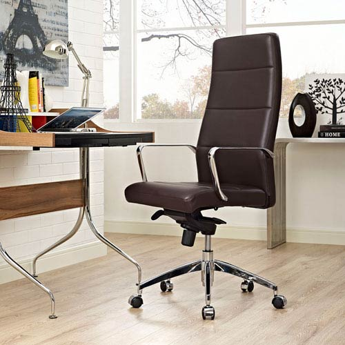 Modway Furniture Stride Highback Office Chair in Brown