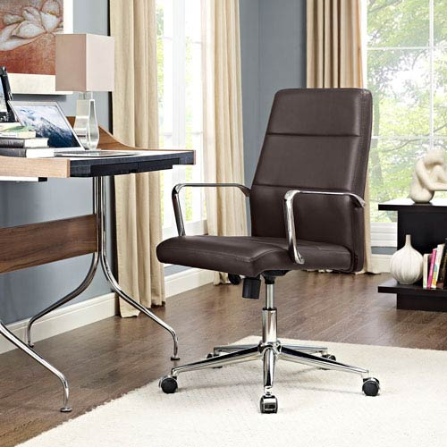Modway Furniture Stride Mid Back Office Chair in Brown