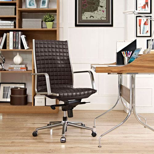 Modway Furniture Pattern Highback Office Chair in Brown