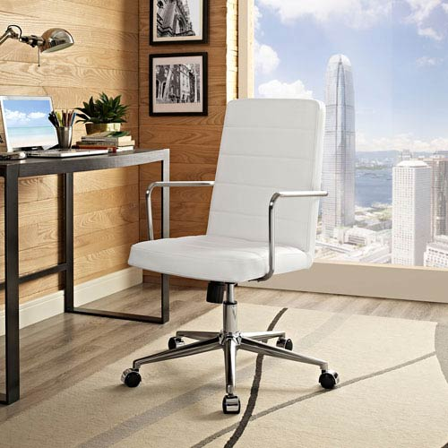 Modway Furniture Cavalier Highback Office Chair in White