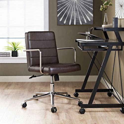 Modway Furniture Cavalier Mid Back Office Chair in Brown