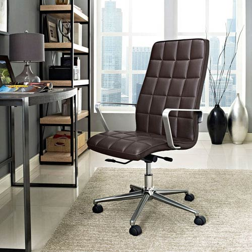 Modway Furniture Tile Highback Office Chair in Brown