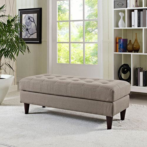 Empress Fabric Bench in Granite