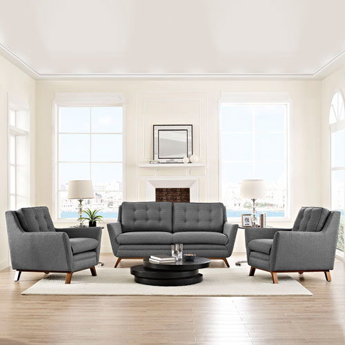 Modway Furniture Beguile 3 Piece Fabric Living Room Set in Gray