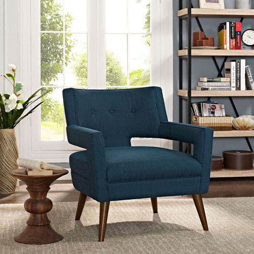 Modway Furniture Sheer Fabric Armchair in Azure