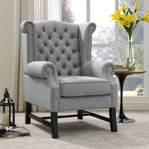 Steer Fabric Armchair in Light Gray