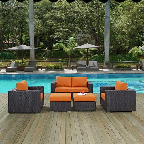 Convene 5 Piece Outdoor Patio Sofa Set in Espresso Orange