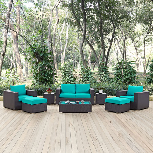 Modway Furniture Convene 8 Piece Outdoor Patio Sofa Set in Espresso Turquoise