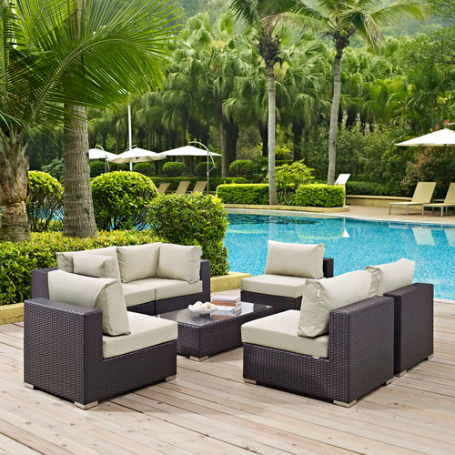 Modway Furniture Convene 7 Piece Outdoor Patio Sectional Set in Espresso Beige