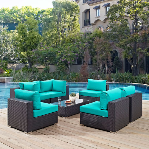 Modway Furniture Convene 7 Piece Outdoor Patio Sectional Set In Espresso Turquoise