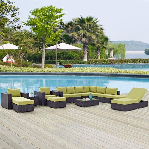 Modway Furniture Convene 12 Piece Outdoor Patio Sectional Set in Espresso Peridot