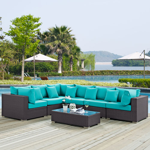 Modway Furniture Convene 7 Piece Outdoor Patio Sectional Set in Expresso Turquoise