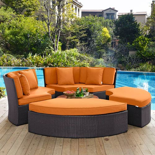 Convene Circular Outdoor Patio Daybed Set in Espresso Orange