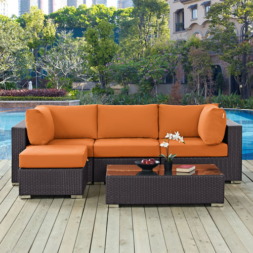 Modway Furniture Convene 5 Piece Outdoor Patio Sectional Set in Espresso Orange