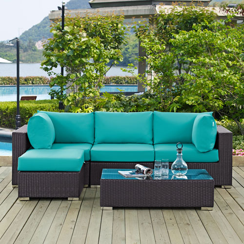 Modway Furniture Convene 5 Piece Outdoor Patio Sectional Set in Espresso Turquoise