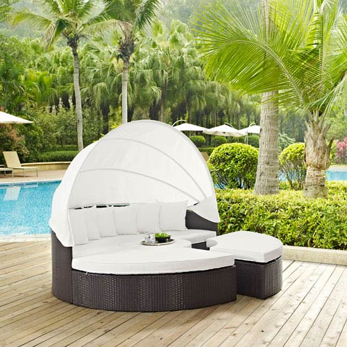 Modway Furniture Convene Canopy Outdoor Patio Daybed in Espresso White
