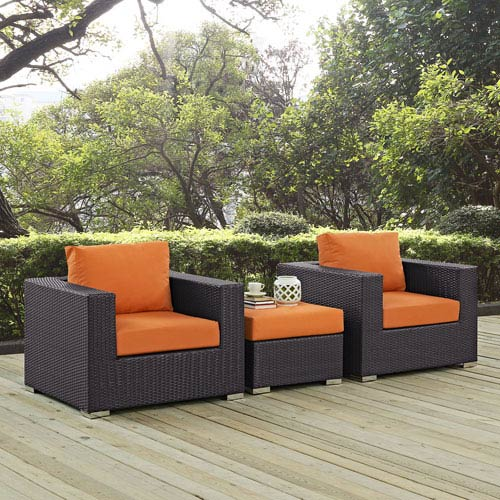Modway Furniture Convene 3 Piece Outdoor Patio Sofa Set in Espresso Orange