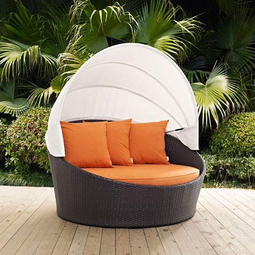 Perfect Modway Furniture Convene Canopy Outdoor Patio Daybed In Espresso Orange