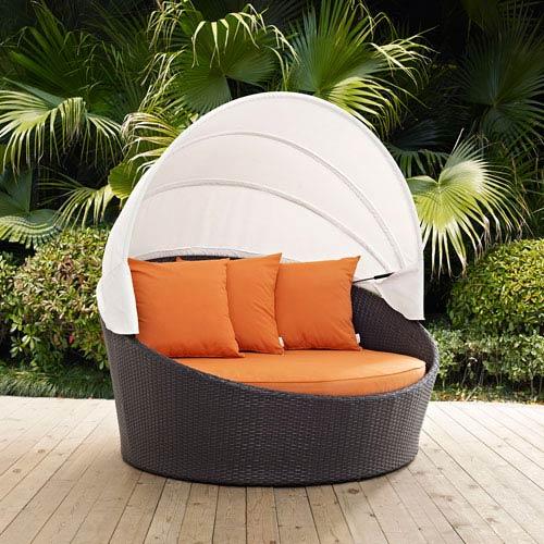 Modway Furniture Convene Canopy Outdoor Patio Daybed In Espresso Orange