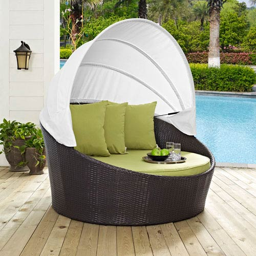 Modway Furniture Convene Canopy Outdoor Patio Daybed in Espresso Peridot