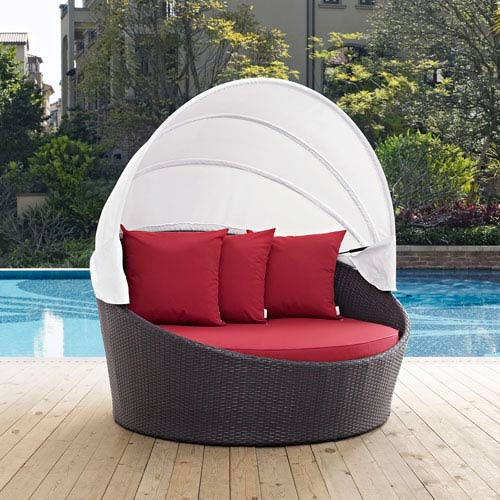 Convene Canopy Outdoor Patio Daybed in Espresso Red