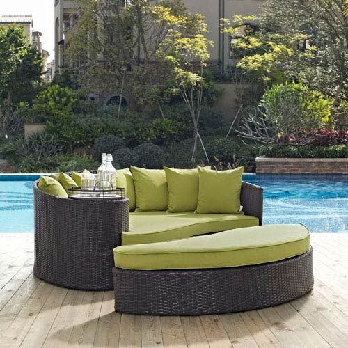 Modway Furniture Convene Outdoor Patio Daybed in Espresso Peridot