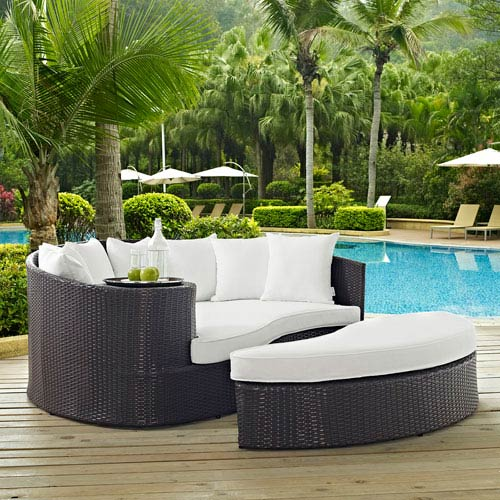 Convene Outdoor Patio Daybed in Espresso White