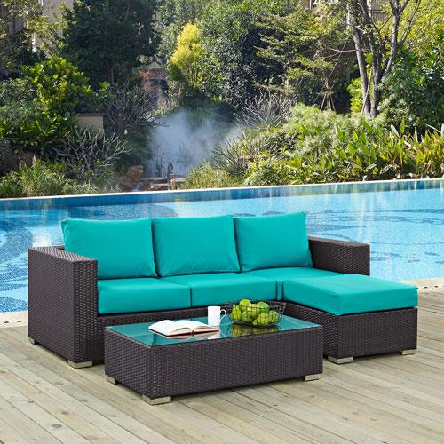 Convene 3 Piece Outdoor Patio Sofa Set in Espresso Turquoise