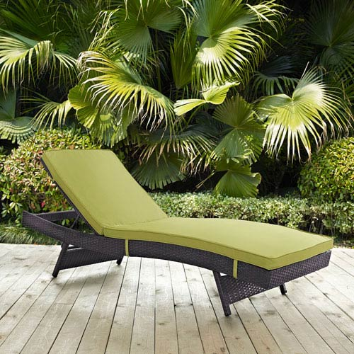 Modway Furniture Convene Outdoor Patio Chaise in Espresso Peridot