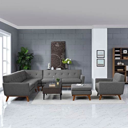 Modway Furniture Engage 5 Piece Sectional Sofa in Expectation Gray