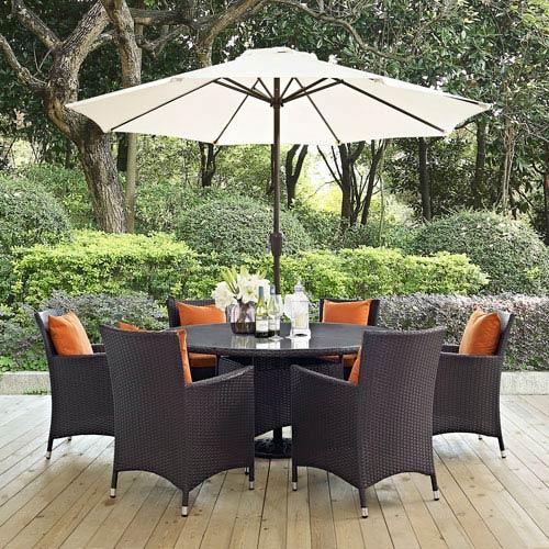 Convene 8 Piece Outdoor Patio Dining Set In Espresso Orange