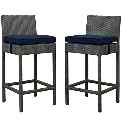 Modway Furniture Sojourn 2 Piece Outdoor Patio Sunbrella® Pub Set in Canvas Navy