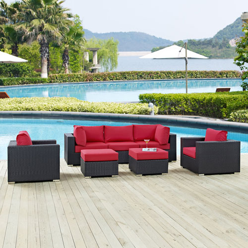 Modway Furniture Convene 7 Piece Outdoor Patio Sectional Set in Espresso Red