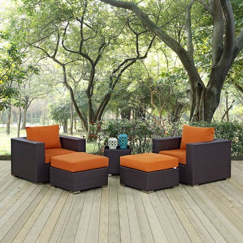 Modway Furniture Convene 5 Piece Outdoor Patio Sectional Set in Espresso Orange