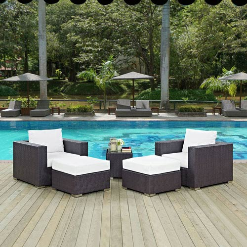 Modway Furniture Convene 5 Piece Outdoor Patio Sectional Set in Espresso White