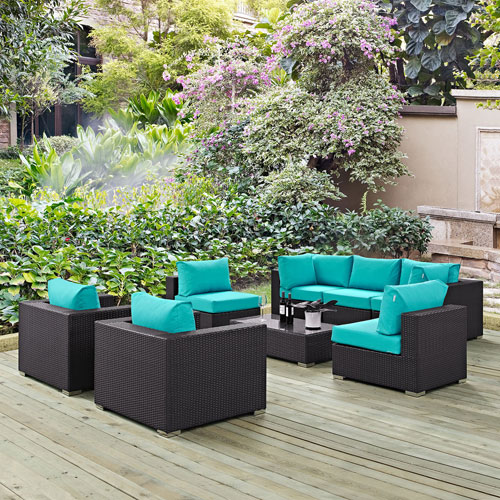 Modway Furniture Convene 8 Piece Outdoor Patio Sectional Set in Espresso Turquoise